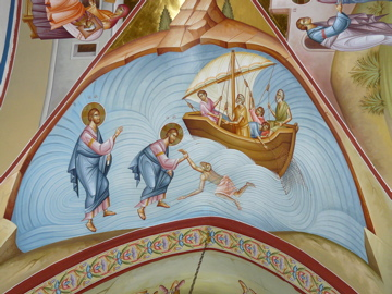 Wonderful iconography of Christ and Peter walking on the water in chapel of Monastery of Transfiguration on Mount Tabor (rw)